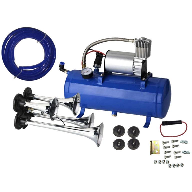 150 dB 4 Trumpet Quad Truck Air Horn Kit 12V Compressor 120 PSI