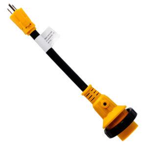 "12"" RV Adapter Power Cord 15A Male 5-15P to 30A Twist Lock Female L5-30R W/ LED"