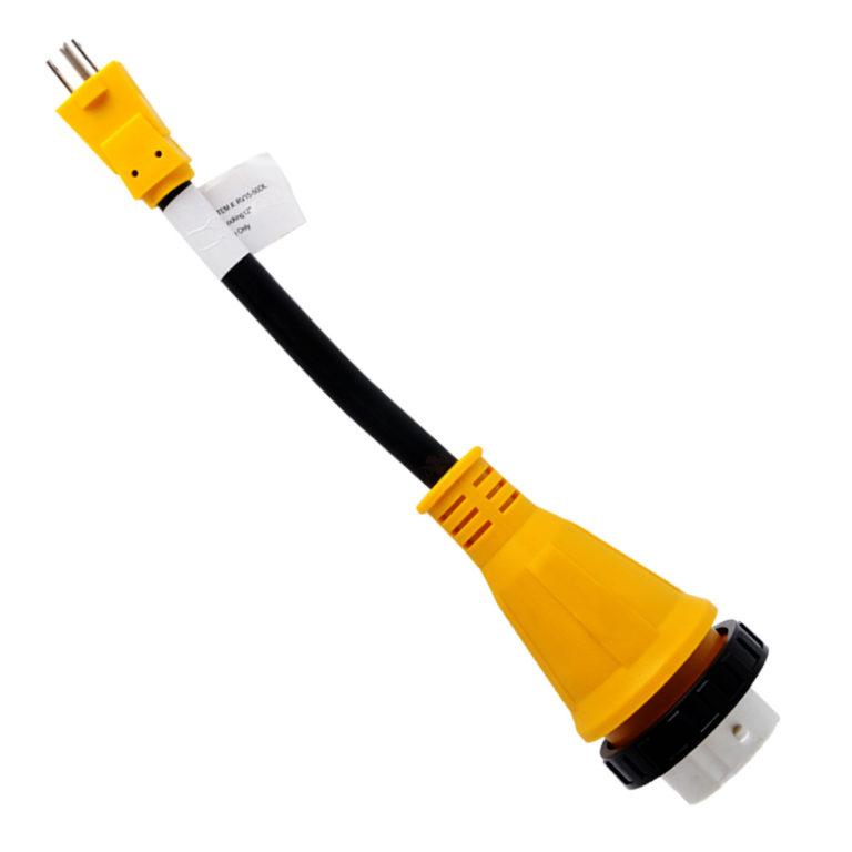 "12"" Dogbone RV Adapter Power Cord 15A Male 5-15P – 50A Twist Lock Female SS2-50R"