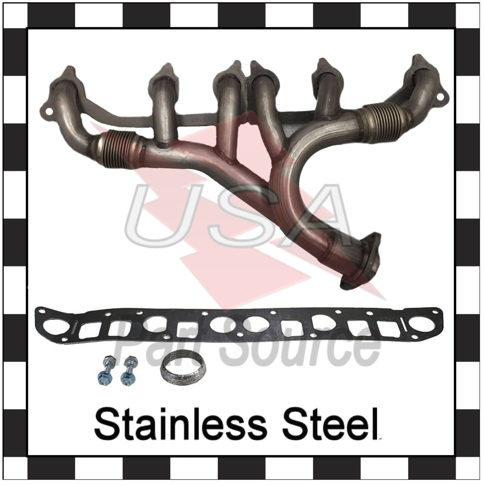 Stainless Steel For 1999 Jeep Wrangler L6 4.0L Exhaust Manifold /& Gasket Kit