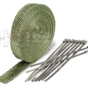 Titanium Exhaust Wrap Kit, 1 inch x 50 ft Roll w/ 8 Stainless Steel Zip Ties