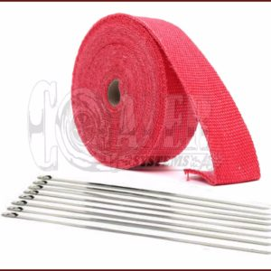 Red Exhaust Wrap Kit, 1 inch x 50 ft Roll w/ 8 Stainless Steel Zip Ties