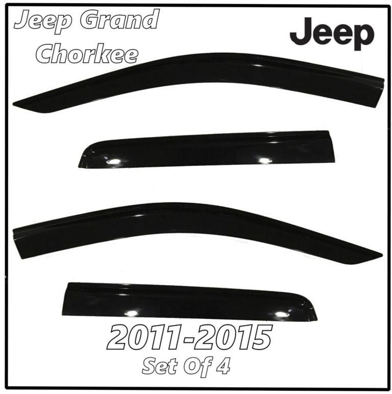2011 – 2015 Jeep Grand Cherokee Window Deflectors   Front Rear Complete Set