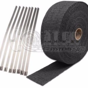 Black Exhaust Wrap Kit, 1 inch x 50 ft Roll w/ 8 Stainless Steel Zip Ties