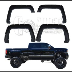 2014 - 2015 GMC Sierra Chevy Silverado Pocket Style Riveted Fender Flares