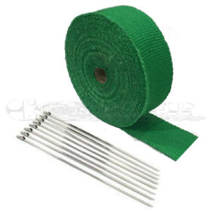 Green Exhaust Wrap Kit, 2 inch x 50 ft Roll w/ 8 Stainless Steel Zip Ties
