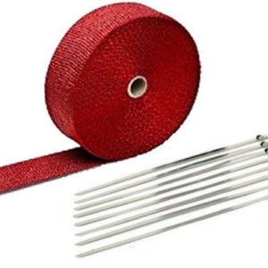 Red Exhaust Wrap Kit, 2 inch x 50 ft Roll w/ 8 Stainless Steel Zip Ties