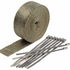 Titanium Exhaust Wrap Kit, 2 inch x 50 ft Roll w/8 Stainless Steel Zip Ties