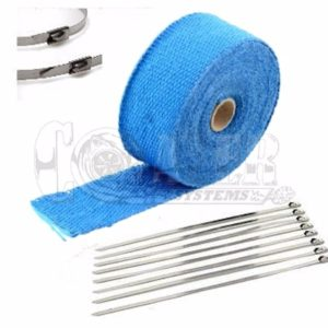 Blue Exhaust Wrap Kit, 2 inch x 25 ft Roll w/ 8 Stainless Steel Zip Ties