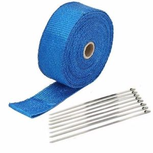 Blue Exhaust Wrap Kit, 1 inch x 50 ft Roll w/ 8 Stainless Steel Zip Ties
