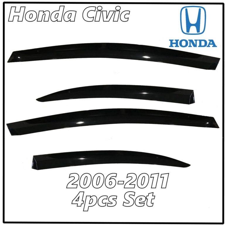 2006 – 2011 Honda Civic Sedan Window Deflectors | Front Rear Complete Set