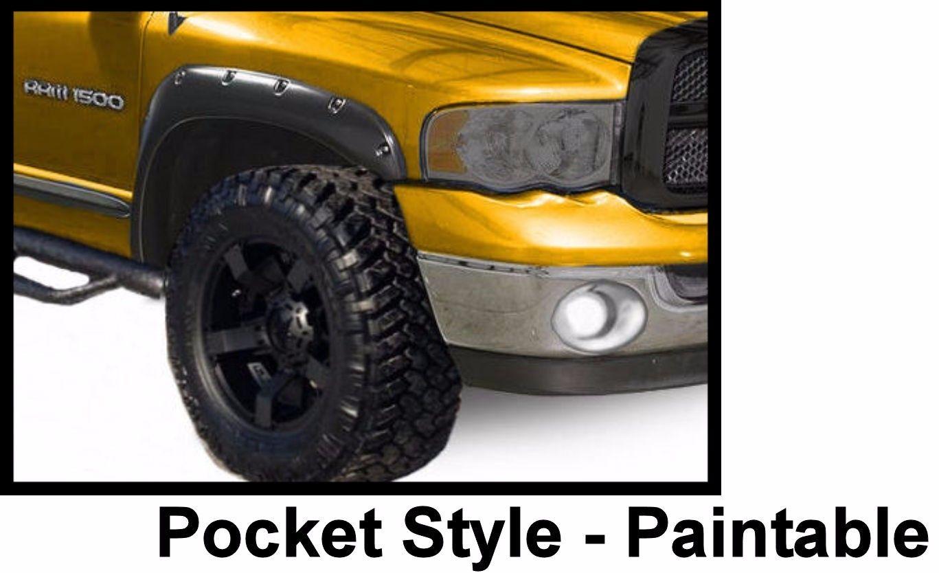 Dodge Ram Pocket Fender Flares Matte Flat Black Oe Style Paintable on 2000 Dodge Ram 3500