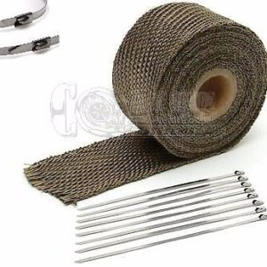 Titanium Exhaust Wrap Kit, 2 inch x 25 ft Roll w/ 8 Stainless Steel Zip Ties