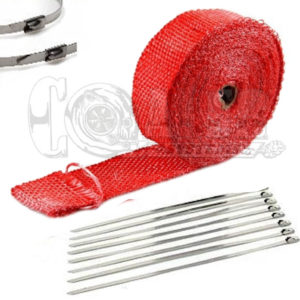 Red Exhaust Wrap Kit, 2 inch x 25 ft Roll w/ 8 Stainless Steel Zip Ties