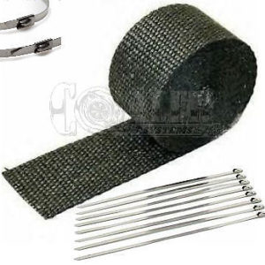 Black Exhaust Wrap Kit, 2 inch x 25 ft Roll w/ 8 Stainless Steel Zip Ties